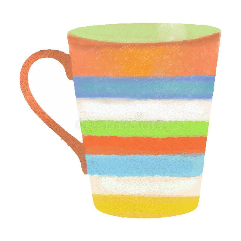 Dragit kaffe eller te för vattenfärg rånar handen isolerat på vit backgr fotografering för bildbyråer