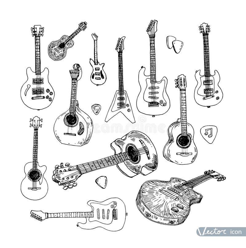 Dragit klotter för elektrisk gitarr hand, vektorillustration vektor illustrationer