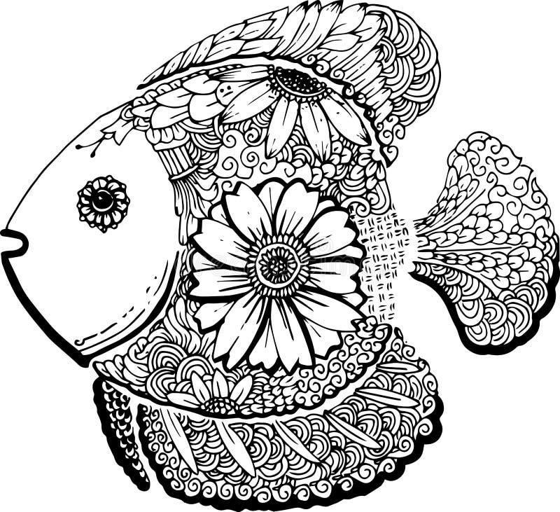 Dragit klotter för fisk hand vektor illustrationer