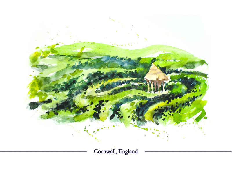 Dragit landskap för vattenfärg hand på vit bakgrund stock illustrationer
