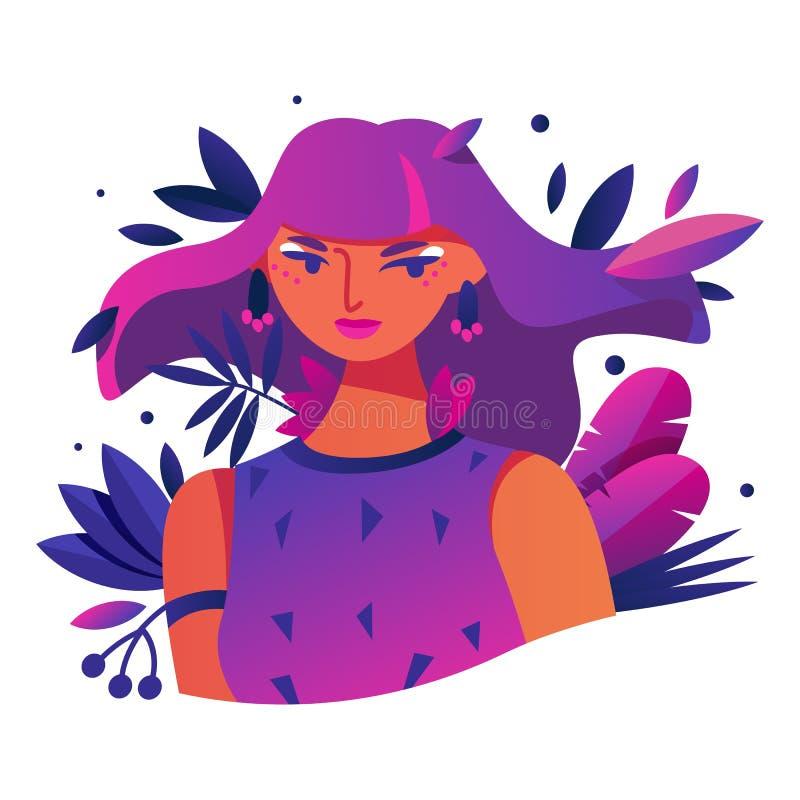Dragit med ljusa lutningar i rosa och purpurfärgat ung flickatecken med sidor i hår Modern illustrationavatar, royaltyfri illustrationer
