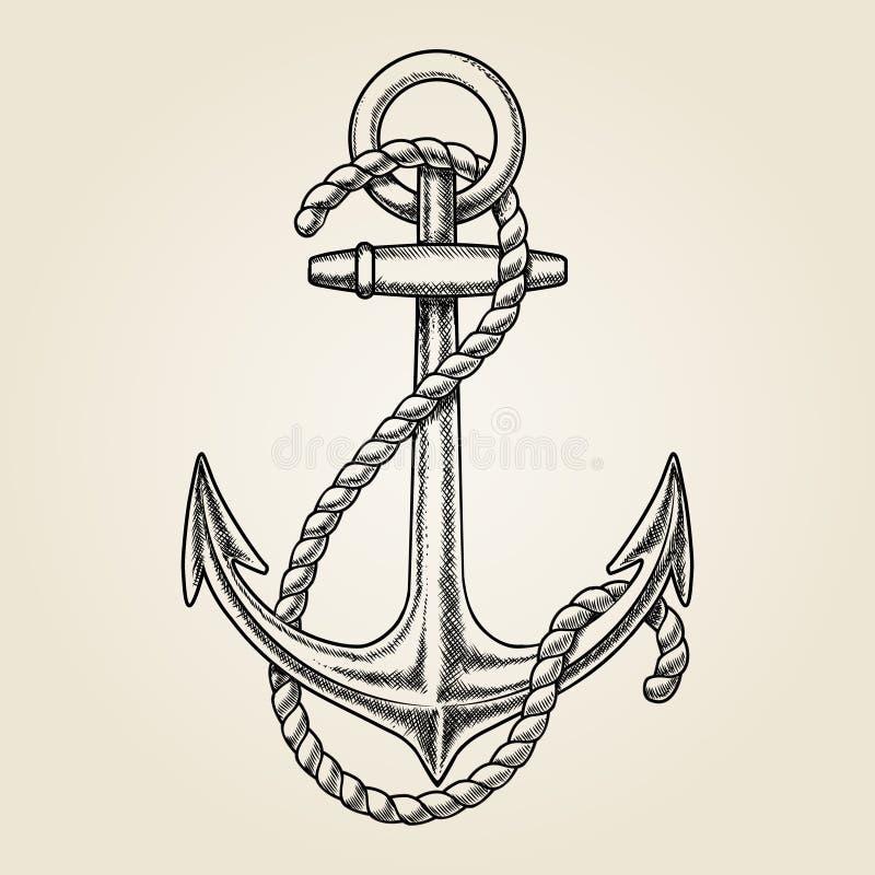 Dragit nautiskt ankare för vektor hand royaltyfri illustrationer