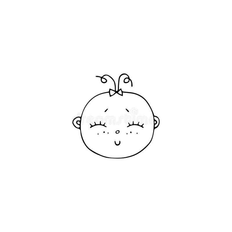 Dragit objekt för vektor hand, gullig framsida för flicka` s royaltyfri illustrationer