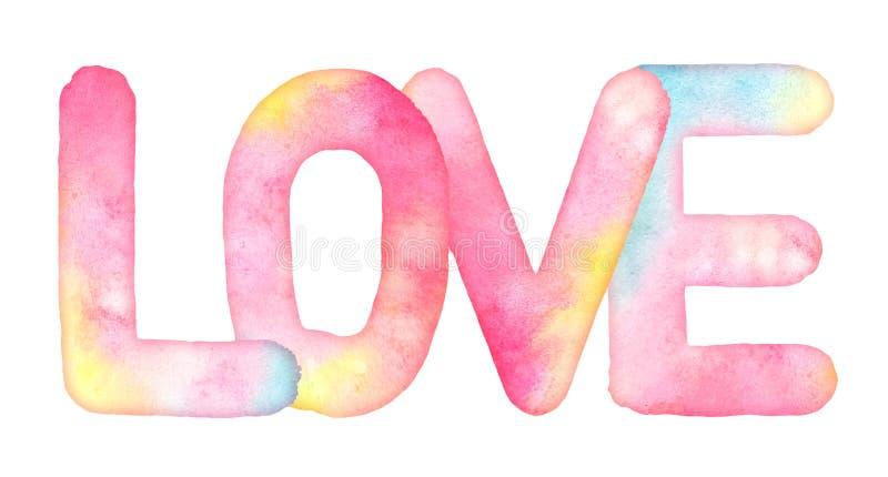 Dragit ord FÖRÄLSKELSE för vattenfärg hand stock illustrationer