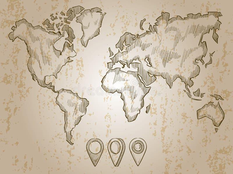 Dragit världskarta- och klotterben för tappning hand stock illustrationer