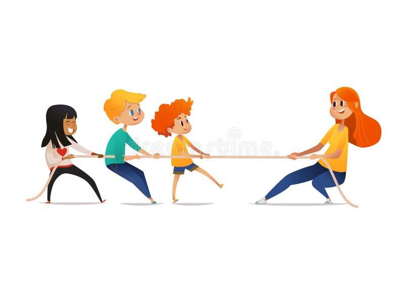 Dragkampkonkurrens mellan barn och vuxna människan Le blandras- ungar och rödhårig mankvinnan som drar mitt emot slut av stock illustrationer