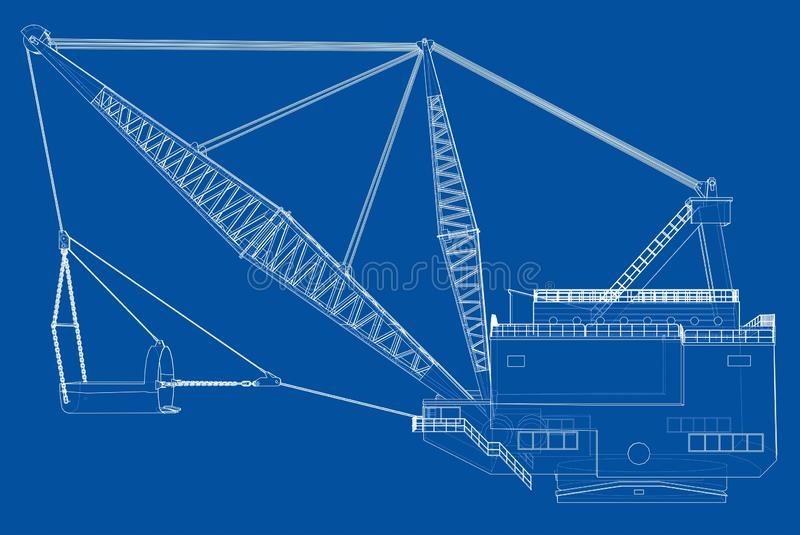 Dragline walking excavator. Vector. Rendering of 3d. Wire-frame style. The layers of visible and invisible lines are separated vector illustration