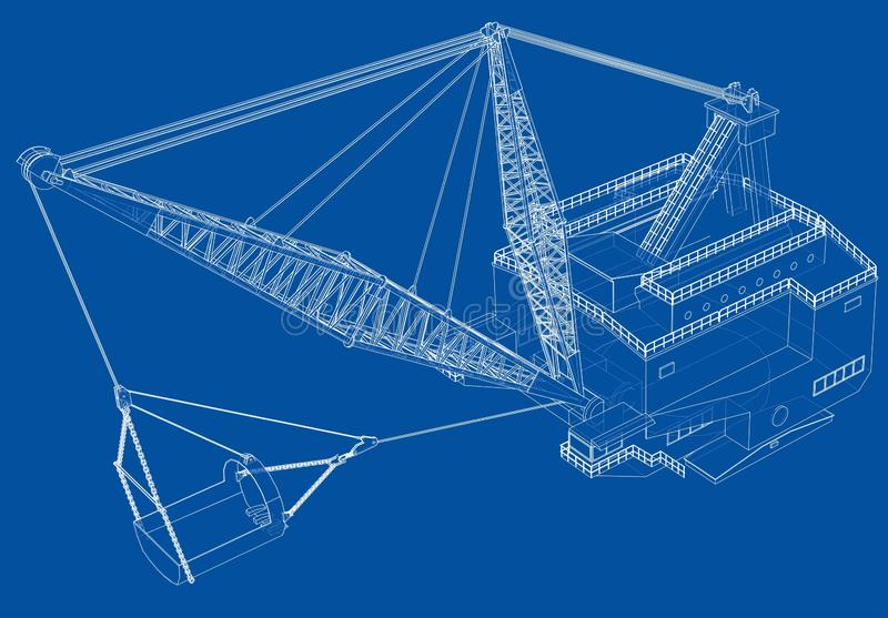 Dragline walking excavator. Vector. Rendering of 3d. Wire-frame style. The layers of visible and invisible lines are separated royalty free illustration