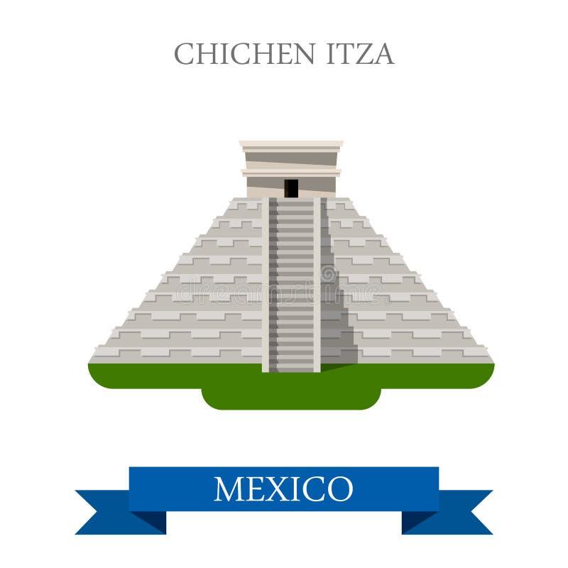 Dragning för Chichen Itza Maya Pyramid Yucatan Mexico vektorlägenhet stock illustrationer