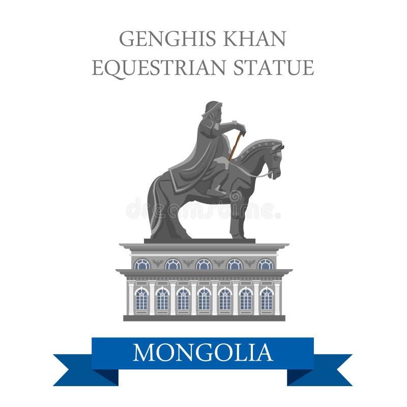 Dragning för Genghis Khan Equestrian Statue Mongolia vektorlägenhet royaltyfri illustrationer