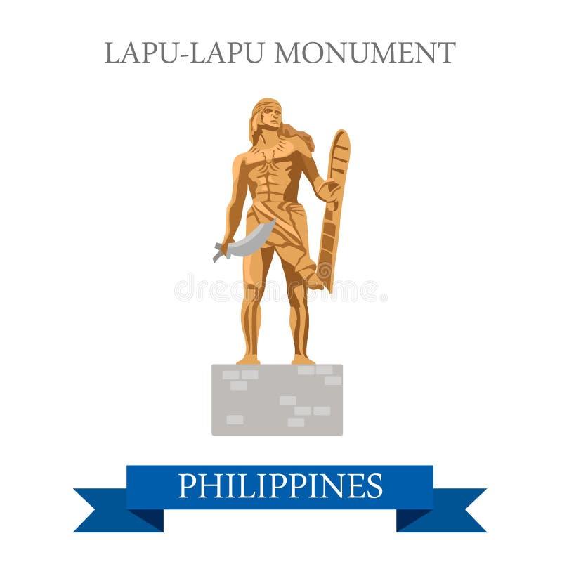 Dragning för vektor för Filippinerna för Lapu-Lapu monumentMactan ö vektor illustrationer