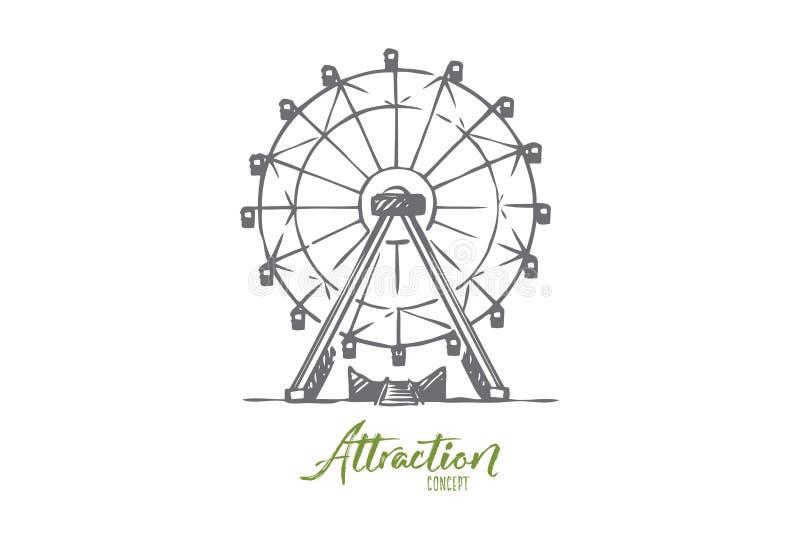 Dragning Ferris, hjul, munterhet, underhållningbegrepp Hand dragen isolerad vektor royaltyfri illustrationer