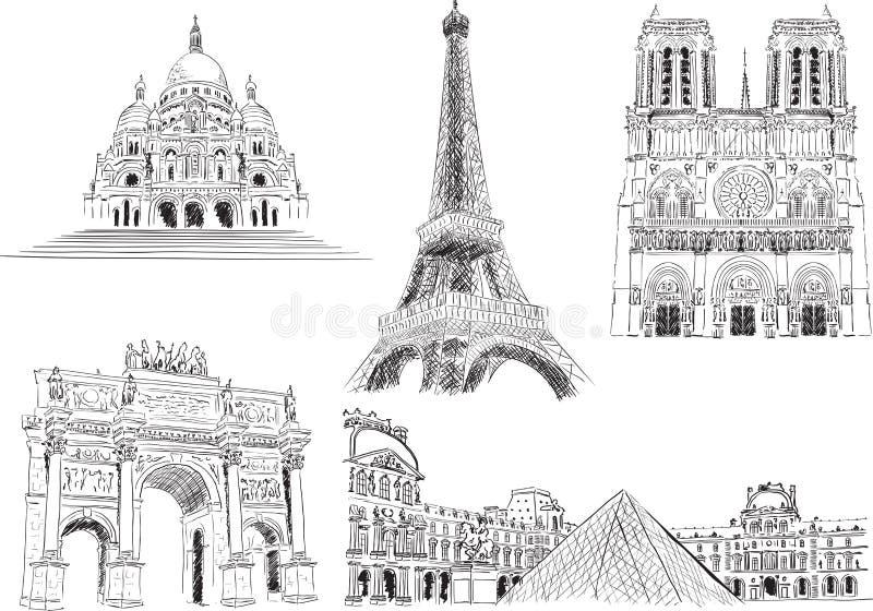 Dragningar av Paris, Frankrike vektor illustrationer