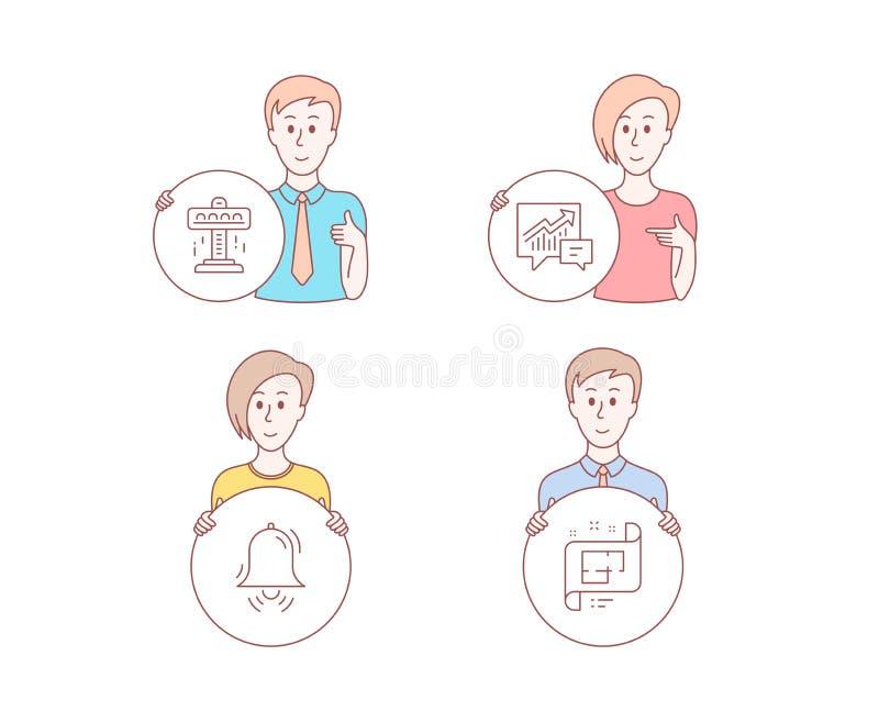 Dragnings-, redovisnings- och klockaklockasymboler Tecken för arkitektoniskt plan Fritt fall tillgång och efterfrågan, larm vekto vektor illustrationer