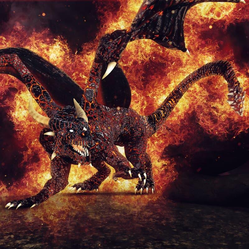Drago ardente con le ali in fiamme illustrazione vettoriale
