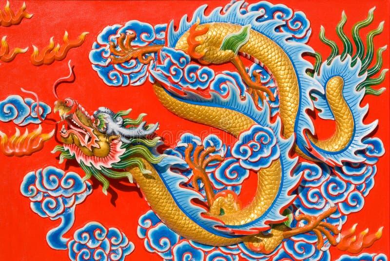 Drago asiatico di immagine in un tempiale immagine stock