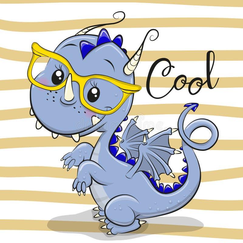 Drago blu sveglio in occhiali gialli royalty illustrazione gratis