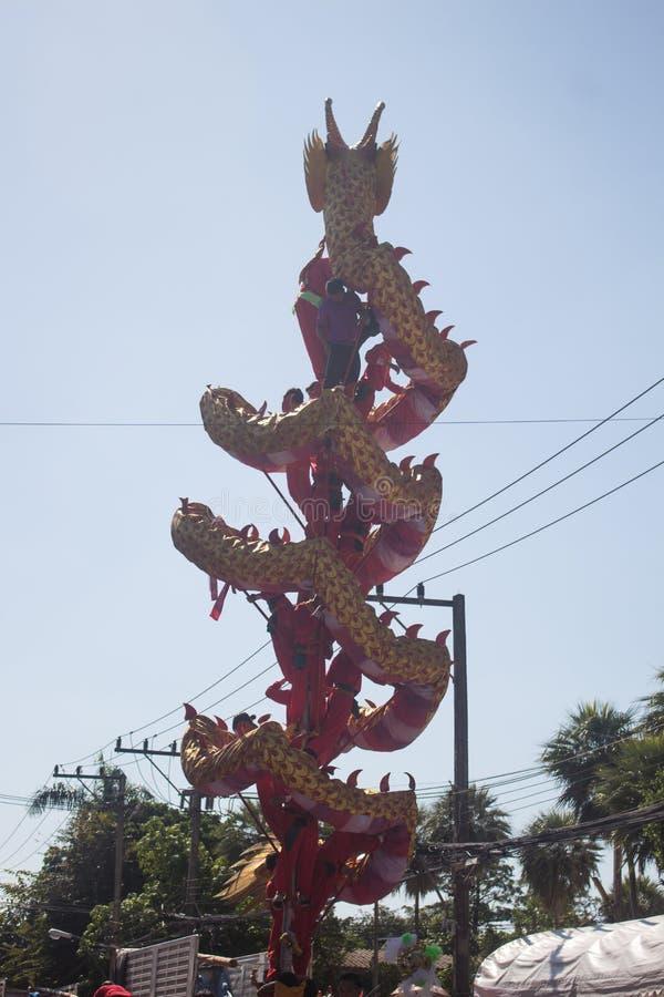 Drago che scala il palo, Tailandia fotografie stock libere da diritti