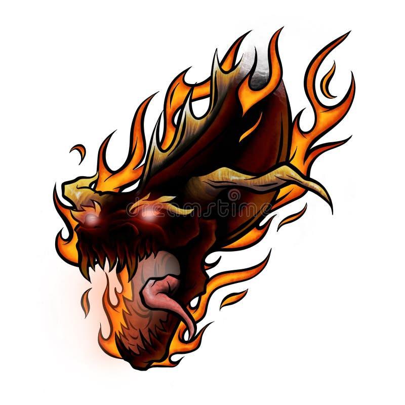 Drago cinese dell'illustrazione del fumetto di volo di saggezza delle fiamme e di potere illustrazione vettoriale