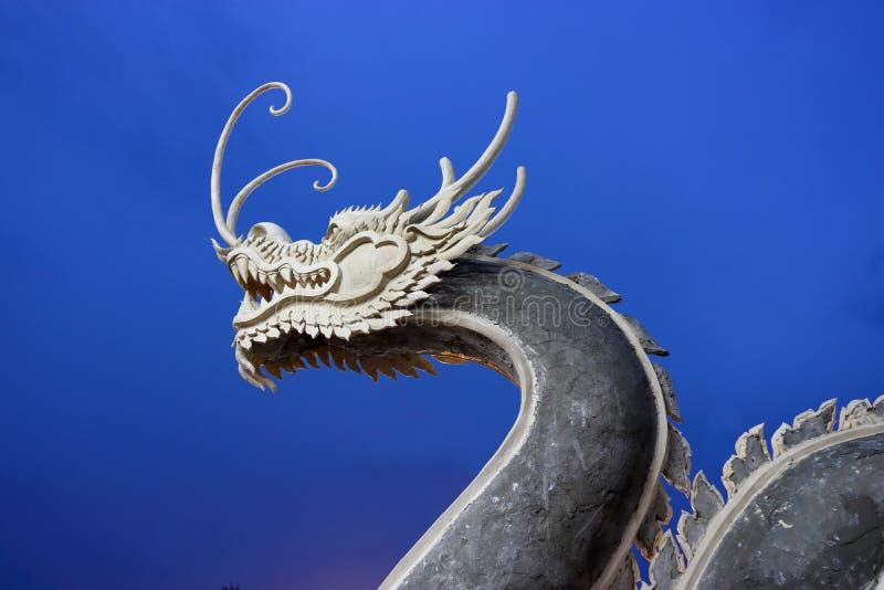 Drago cinese su cielo blu dopo il tramonto fotografia stock