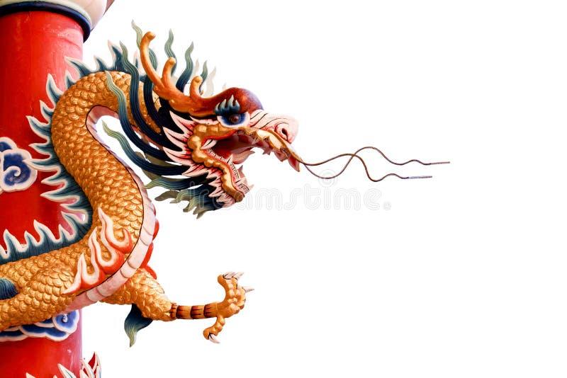 Drago cinese su priorità bassa bianca fotografia stock
