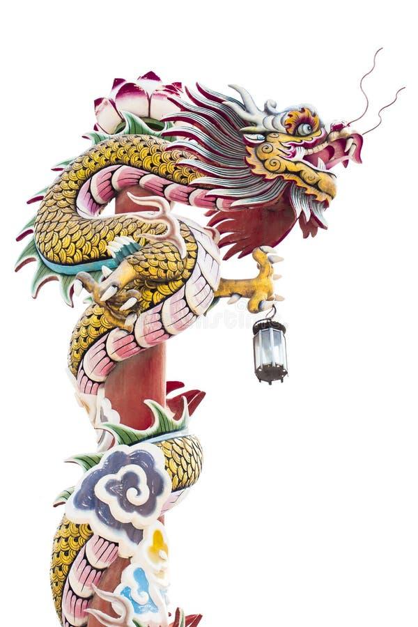 Drago cinese sul palo rosso immagine stock libera da diritti