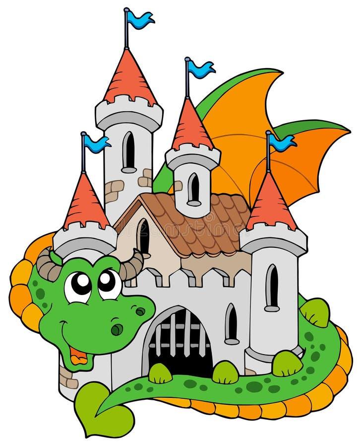 Drago con il vecchio castello royalty illustrazione gratis