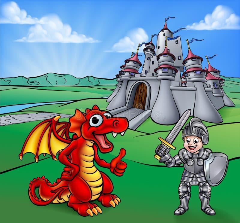 Drago del castello e cavaliere Cartoon illustrazione di stock