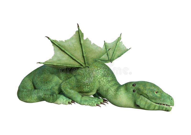 drago del Hatchling di fantasia della rappresentazione 3D su bianco illustrazione di stock