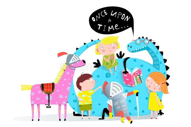 Drago del libro di lettura ai bambini royalty illustrazione gratis