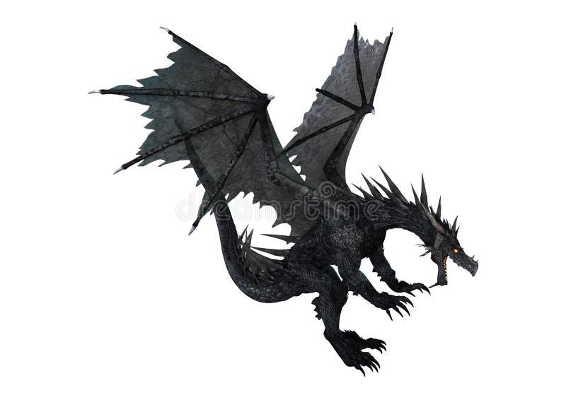 drago del nero di fantasia della rappresentazione 3D su bianco illustrazione di stock
