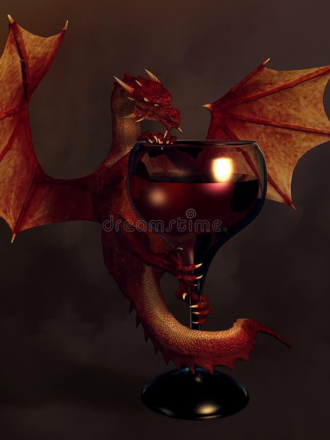 Drago del vino rosso illustrazione vettoriale