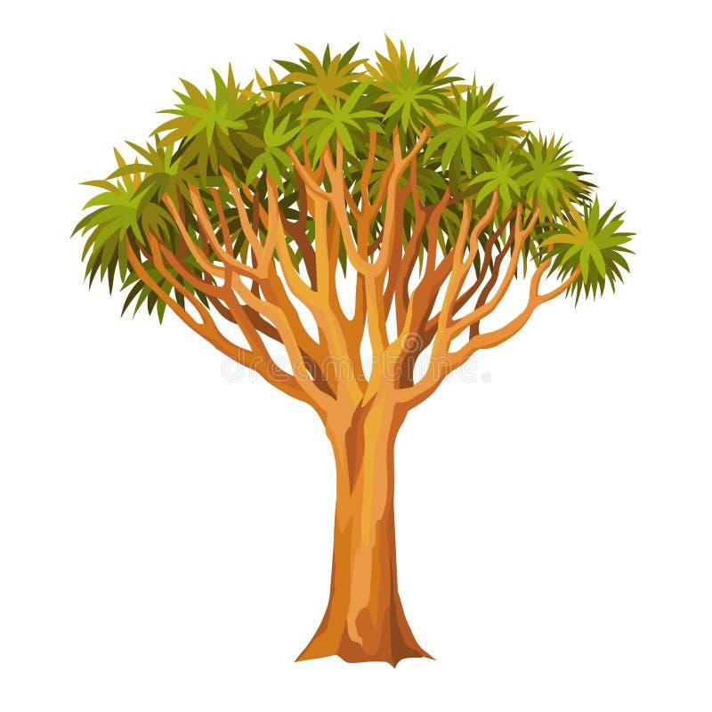 Drago dell'albero di animazione Pianta rara sacra illustrazione vettoriale