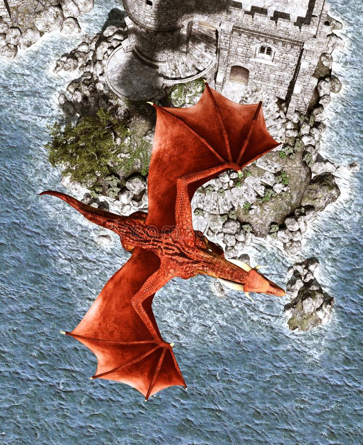 drago di fantasia 3d in isola mitica illustrazione di stock