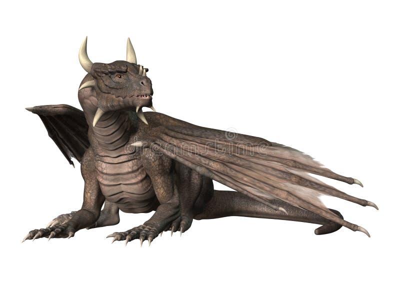 drago di fantasia della rappresentazione 3D su bianco royalty illustrazione gratis