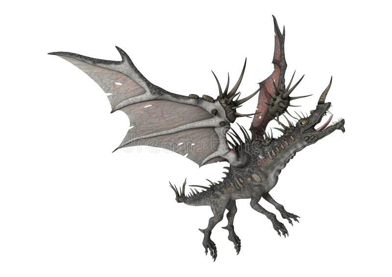 drago di fantasia della rappresentazione 3D su bianco illustrazione di stock