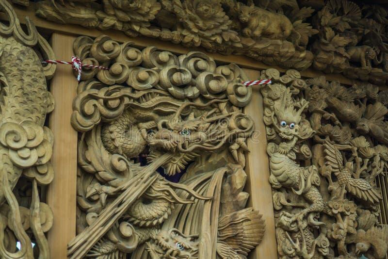 Drago di scultura di legno I fotografie stock libere da diritti