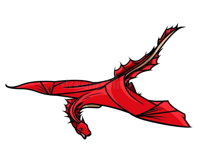 Drago di volo, simbolo dello zodiaco, logo della società, emblema del drago di vettore illustrazione di stock