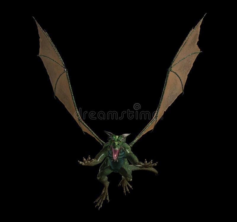 Drago di volo verde diabolico royalty illustrazione gratis