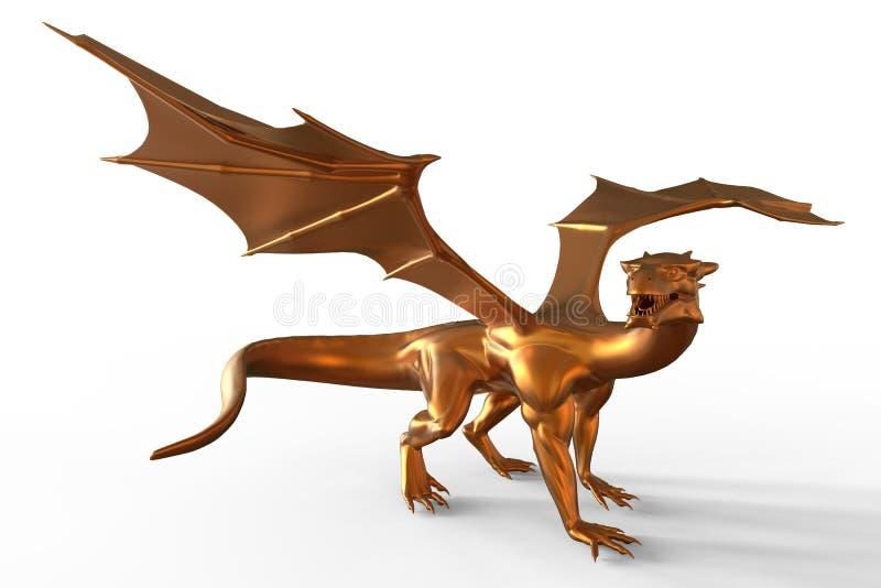 Drago dorato di fantasia illustrazione di stock