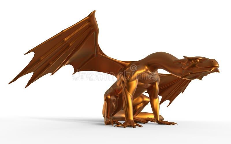 Drago dorato di fantasia illustrazione vettoriale