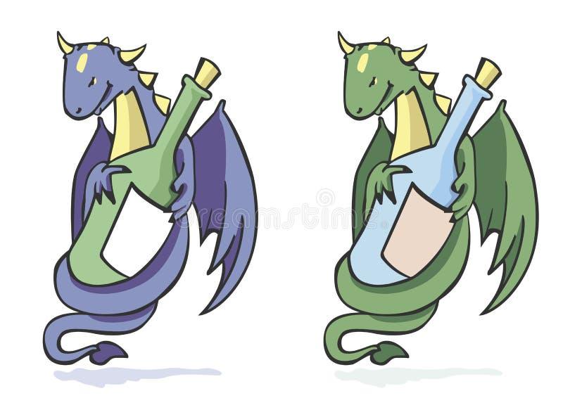 Drago e bottiglia illustrazione vettoriale