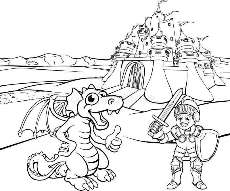 Drago e cavaliere Castle Cartoon royalty illustrazione gratis