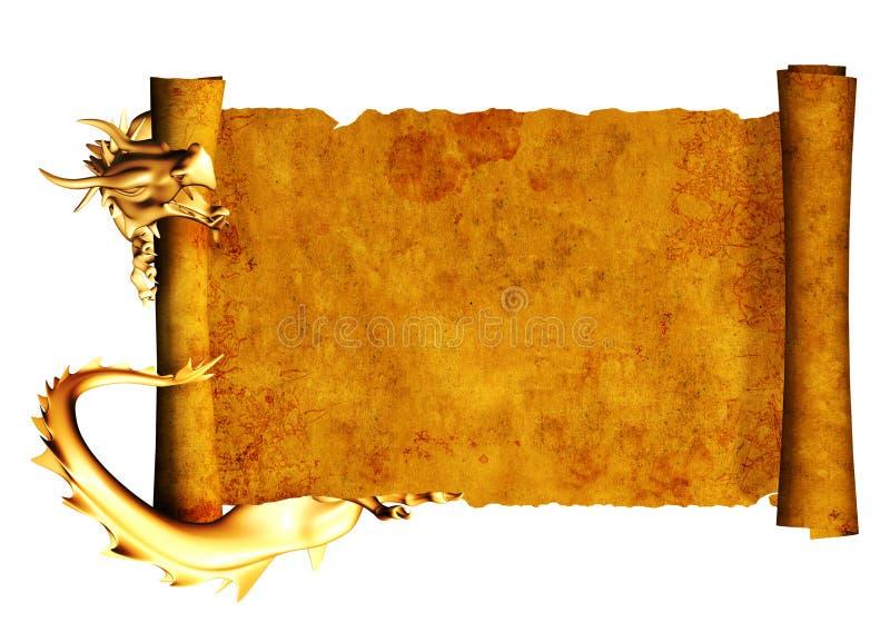 Drago e rotolo di vecchia pergamena illustrazione di stock