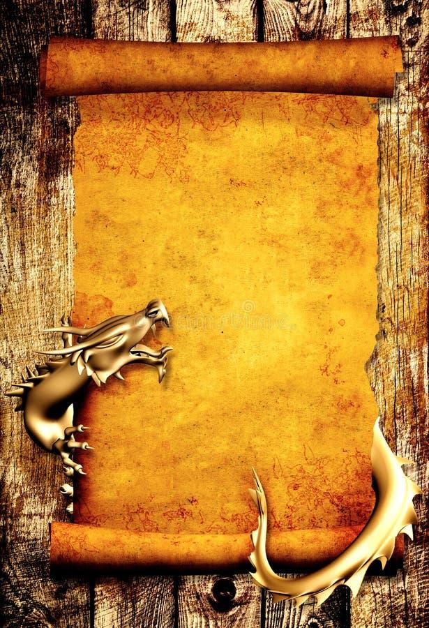 Drago e rotolo di vecchia pergamena royalty illustrazione gratis