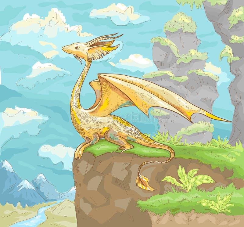 Drago fantastico Paesaggio fantastico con il drago Han fantastico illustrazione vettoriale