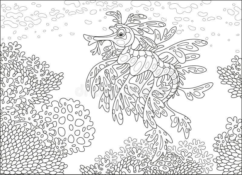 Drago frondoso del mare su una barriera corallina royalty illustrazione gratis
