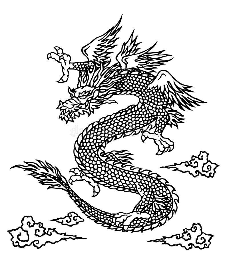 Drago giapponese illustrazione di stock