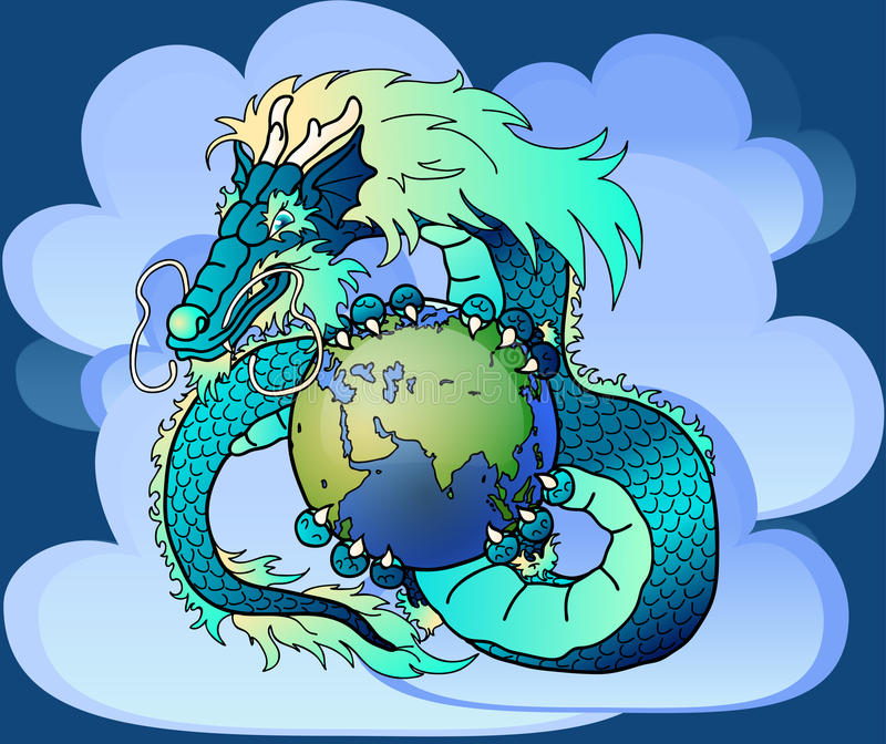 Drago orientale blu saggio contro le nuvole royalty illustrazione gratis