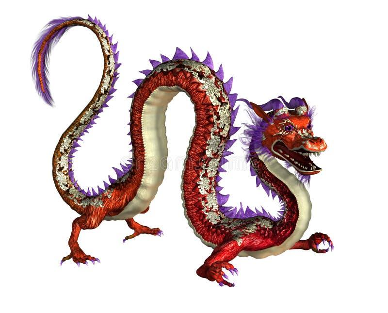 Drago orientale rosso - include il percorso di residuo della potatura meccanica royalty illustrazione gratis
